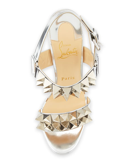 53c28de90a1 Christian Louboutin Miziggoo Spiked Two-Band Red Sole Sandal, Silver