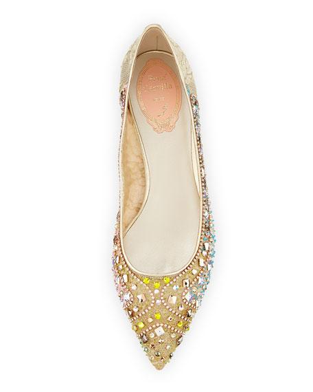 Beaded Lace Ballerina Flat, Gold
