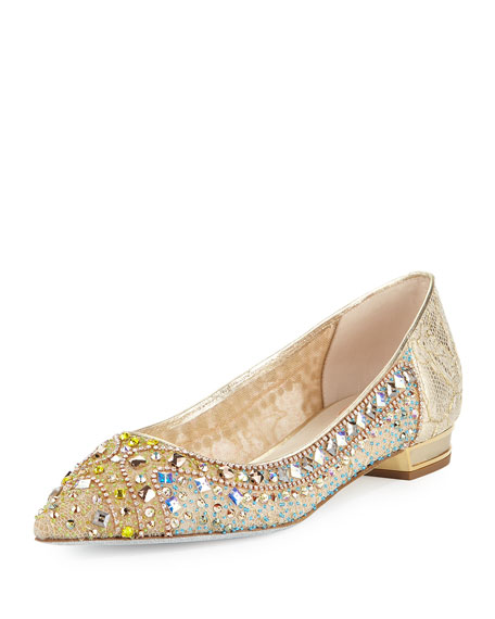 Rene Caovilla Beaded Lace Ballerina Flat, Gold