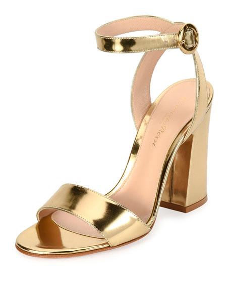 Tandi Metallic Ankle-Wrap 100mm Sandal, Gold