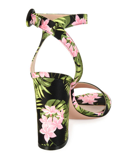 Tandi Floral Ankle-Wrap 100mm Sandal, Pink/Green