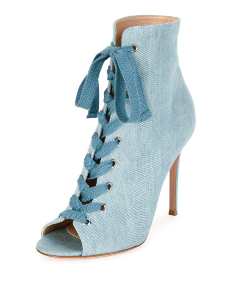 Gianvito Rossi Denim Open-Toe 105mm Bootie, Blue