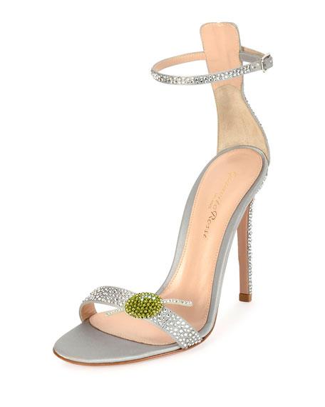 Gianvito Rossi Martini Portofino Ankle-Wrap 105mm Sandal, Silver