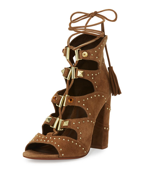 Ash Alexa Studded Lace-Up Sandal, Brown