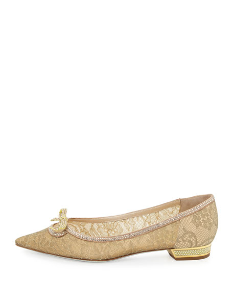 Lace Pointed-Toe Bow Flat, Gold