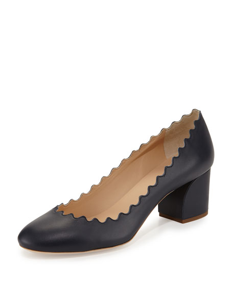 Chloe Scalloped Leather Block-Heel Pump, Navy