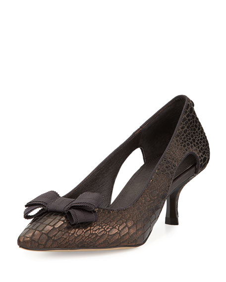Donald J Pliner Dova Cutout Bow Kitten-Heel Pump,
