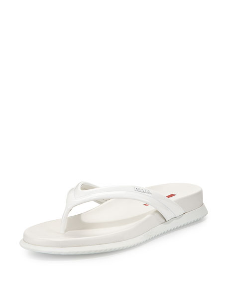 Prada Linea Rossa Patent Leather Thong Sandal, Bianco