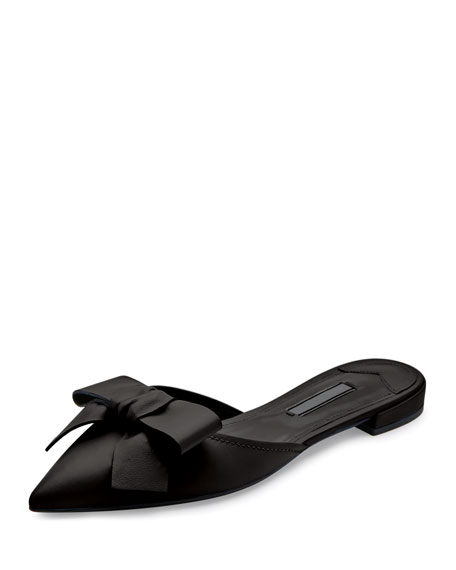 Pointed-Toe Bow Slide Flat, Nero