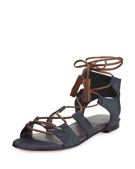 Romanflat Suede Flat Gladiator Sandal