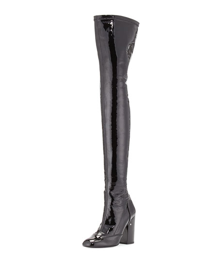 Laurence Dacade Madison Patent Over-The-Knee Boot, Black
