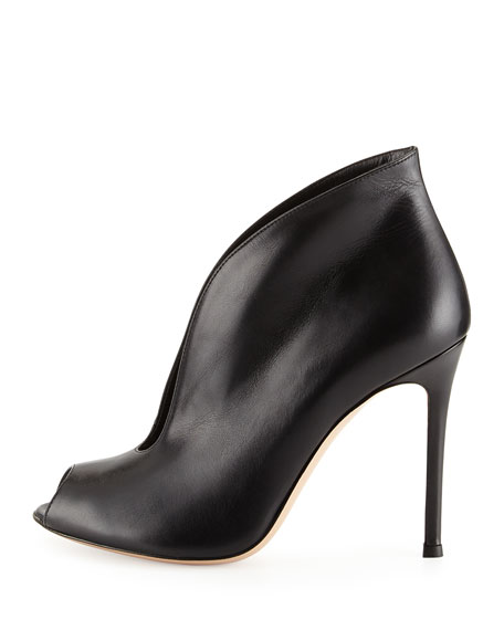 Vamp V-Neck Peep-Toe Bootie, Black