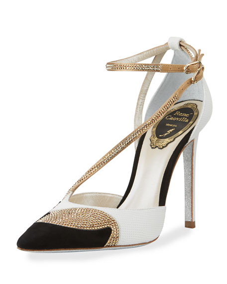 Snakeskin Asymmetric 105mm Pump, Black/Gold