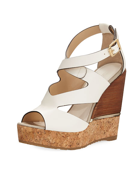 Jimmy Choo Nate 120mm Crisscross Wedge Sandal