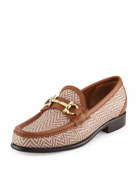 Twist Printed Leather Loafer, Bianco/Pebble