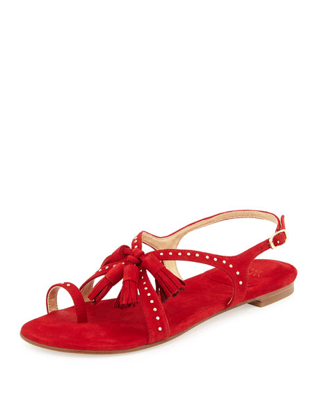 Flapagain Suede Tassel Flat Sandal, Red