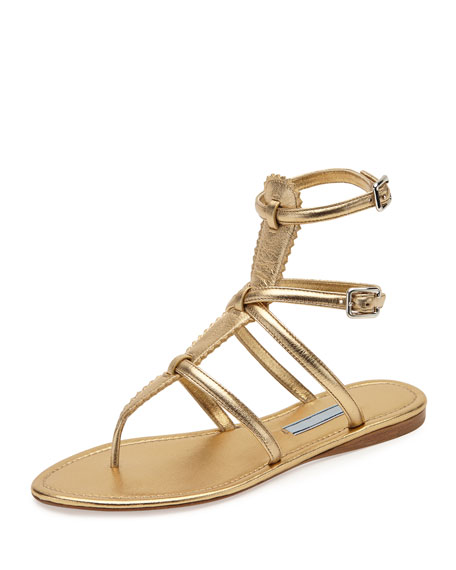 Prada Flat Metallic Thong Gladiator Sandal, Light Gold