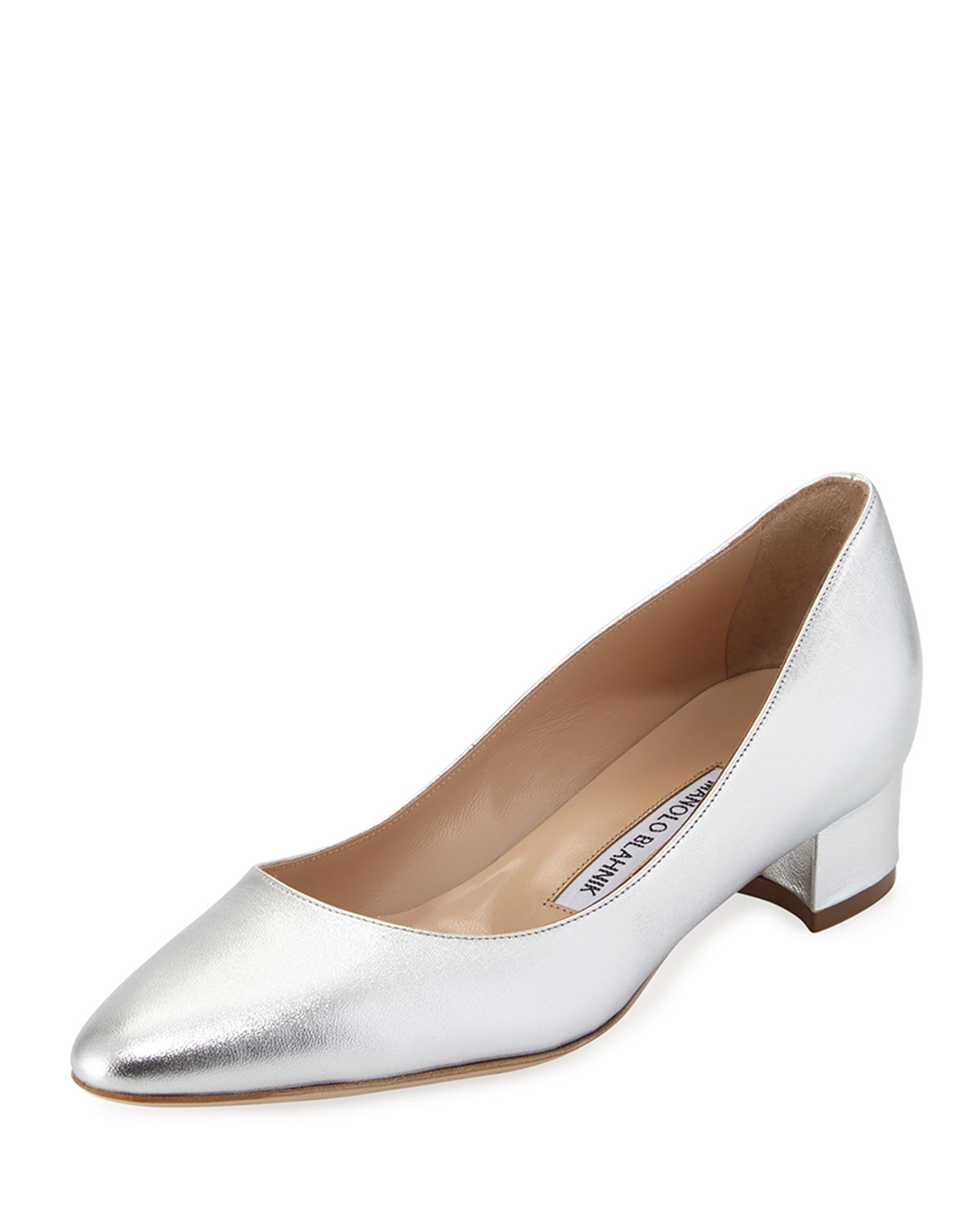 da0716337509f Manolo Blahnik Listony Leather Low-Heel Pumps | Neiman Marcus