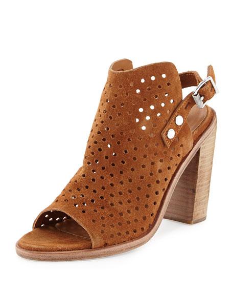 Wyatt Perforated High-Heel City Sandal, Tan Suede