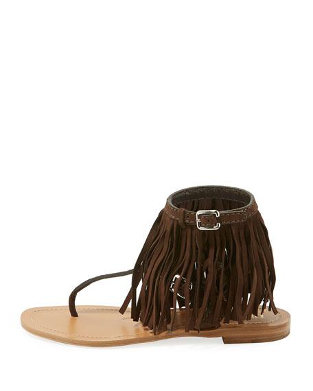 Suede Fringe Flat Sandal