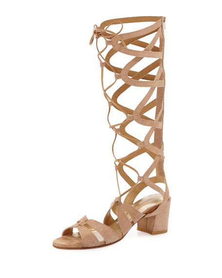 Stuart Weitzman Grecian Suede Tall Gladiator Sandal