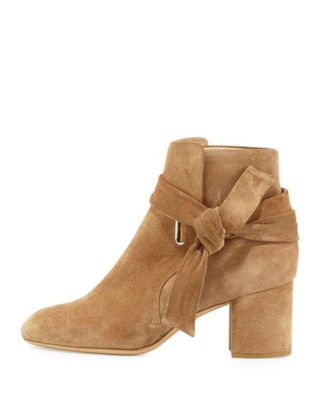 Dalia Suede Ankle-Tie Bootie, Camel