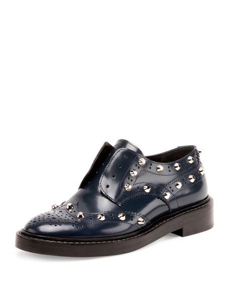 Balenciaga Studded Wing-Tip Derby Loafer, Bleu Obscur