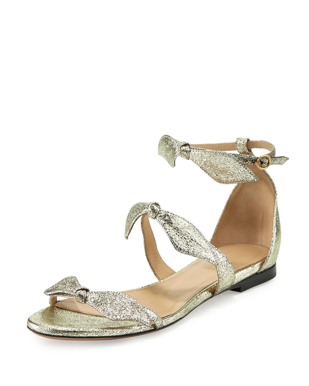 Chloe Mike Bow Metallic Flat Sandal Neiman Marcus