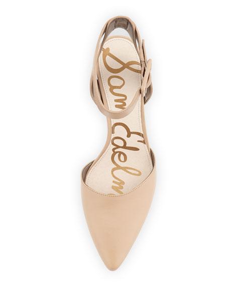 Okala Pointy Ankle-Wrap Pump, Nude