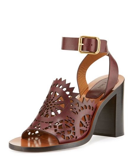 Chloe Kelby Crocheted Leather Block-Heel Sandal, Bordeaux