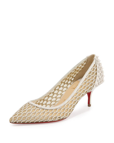 Guni Low-Heel Red Sole Pump, Beige/White