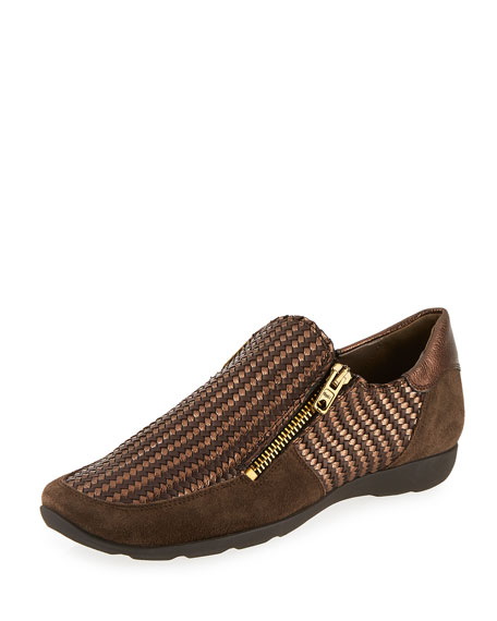 Ganice Woven Zip-Up Sneaker, Brown/Bronze