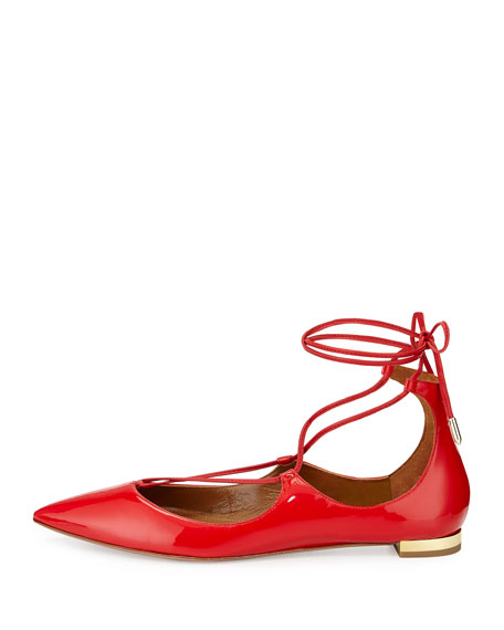 Christy Lace-Up Pointed-Toe Flat, Lipstick