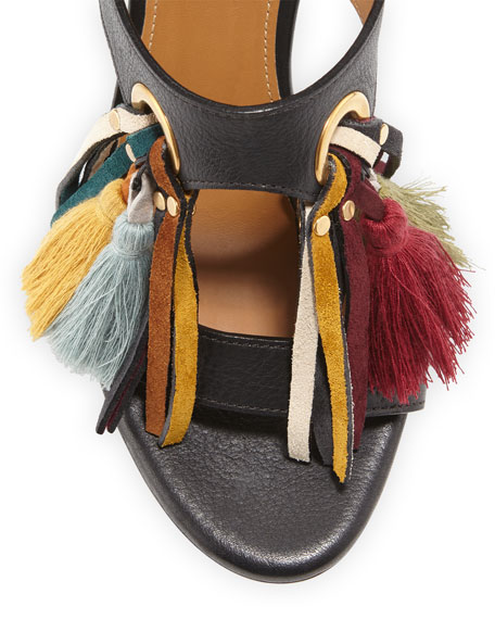 Tassel Fringe Leather 100mm Sandal, Mix Black
