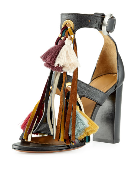 Chloe Tassel Fringe Leather 100mm Sandal, Mix Black