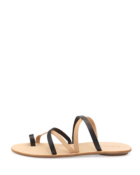 Sarie Strappy Leather Sandals, Black/Buff