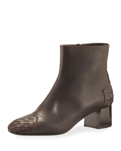 Woven Cap-Toe Leather Ankle Boot