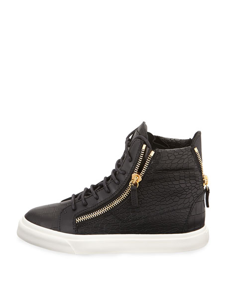 Giuseppe ZanottiCROC EMBOSSED LEATHER SNEAKERS 5QWqUQ