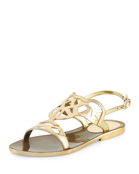 Stuart Weitzman Gelfisher Flat Slingback Sandal, Gold