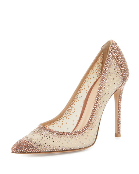 Gianvito Rossi Rania Crystal Illusion 105mm Pump, Nude