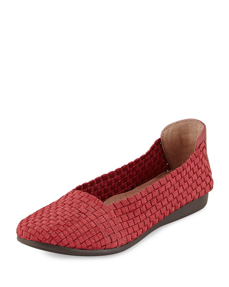 Taryn Rose Belicia Stretch-Woven Flat, Red