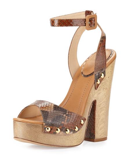 Alexandre Birman Zoee Wooden Python Platform Sandal,