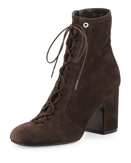 Laurence Dacade Milly Lace-Up Suede Bootie, Gray
