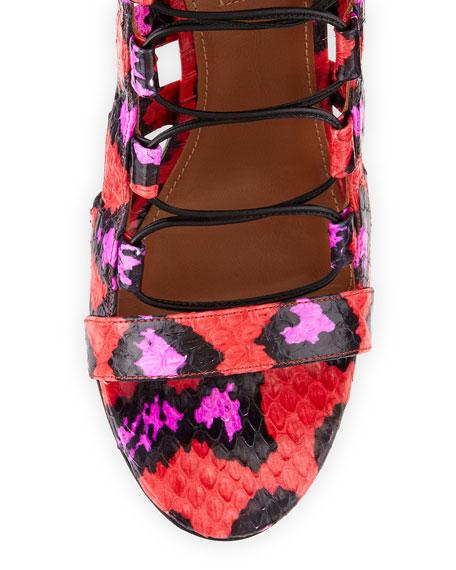 Amazon Strappy Snakeskin Sandal, Candy Lipstick