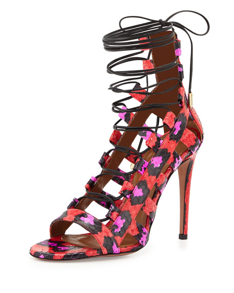 Aquazzura Amazon Strappy Snakeskin Sandal, Candy Lipstick