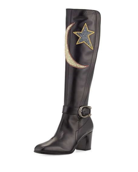 Dionysus Embroidered Knee Boot, Nero