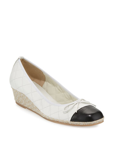 Margie Quilted Cap-Toe Wedge Pump  White