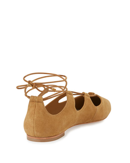 Ambra Suede Lace-Up Ballerina Flat, Sienna