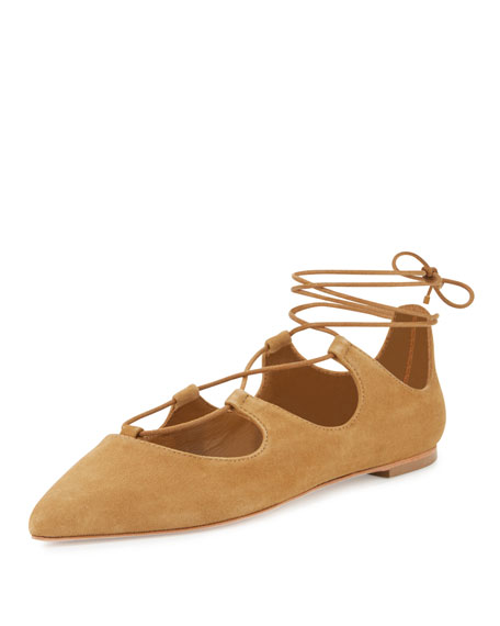 Loeffler Randall Ambra Suede Lace-Up Ballerina Flat, Sienna