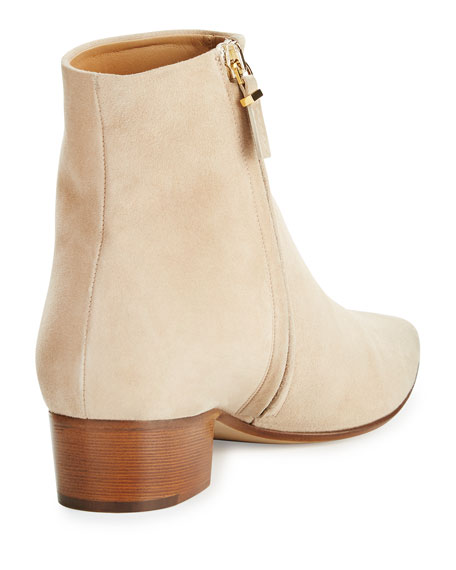 Ambra Suede Pointed-Toe Bootie, Taupe